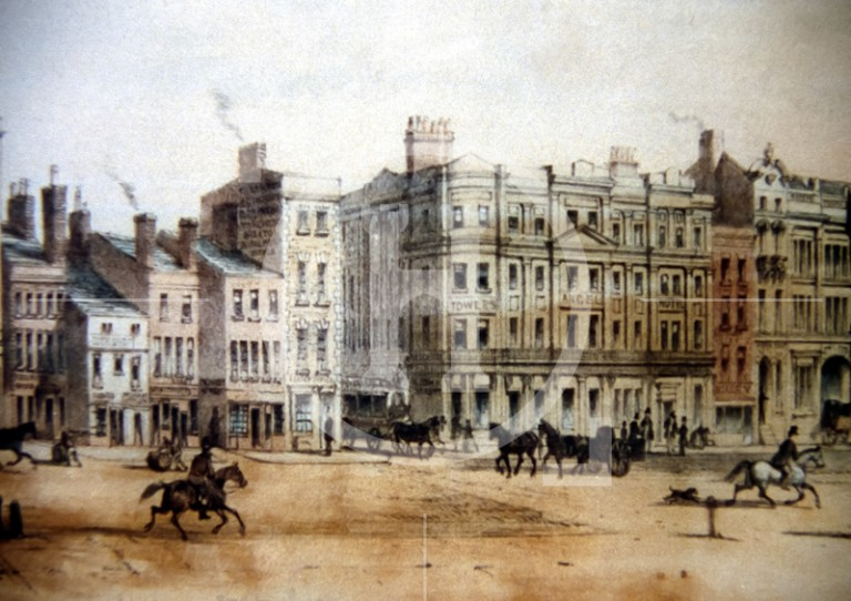 Bustling activity in Dale Street in 1850