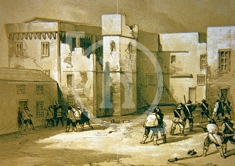 The courtyard of the Tower of Liverpool after the siege of the town in 1644