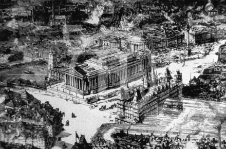 Bird's Eye view of  St Georges Hall Liverpool 1885