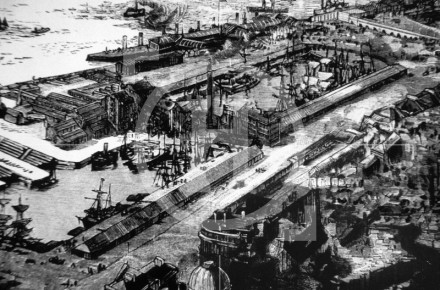 View of Liverpool docks as seen from a ...