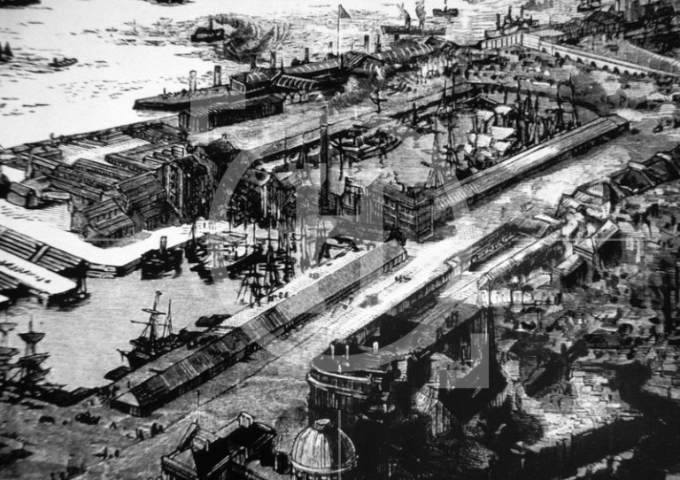 View of Liverpool docks as seen from a balloon, 1885