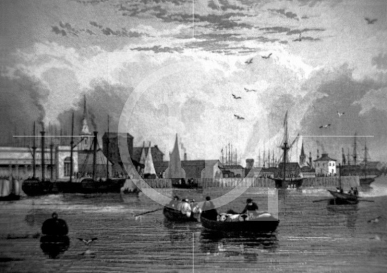 The waterfront from public baths to Salthouse Docks, 1831