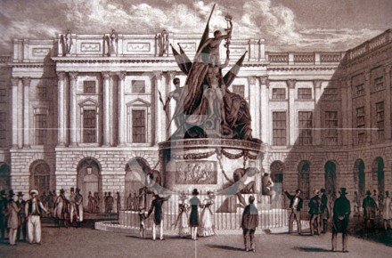 Exchange Buildings and the Nelson Monument, c 1832