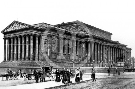 A soot encrusted St George's Hall, end 19th ...