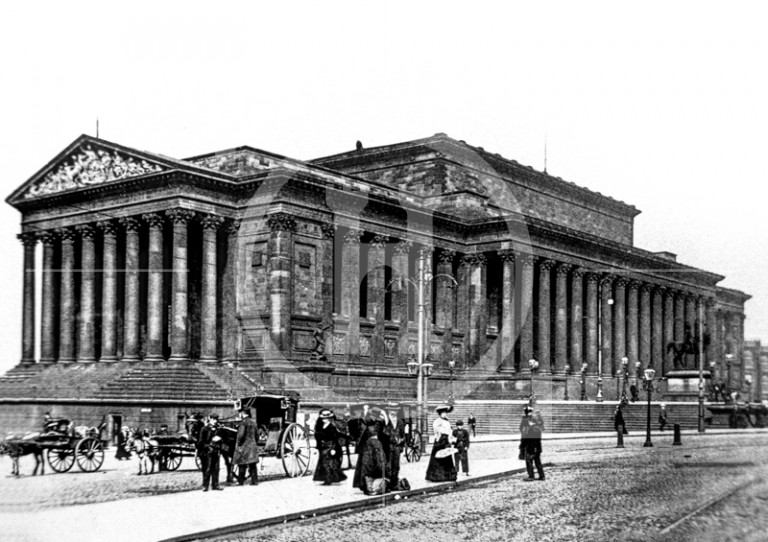 A soot encrusted St George's Hall, end 19th century