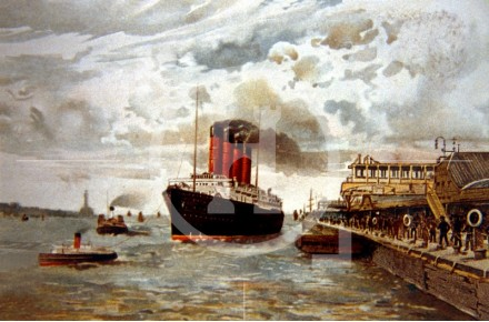 Passenger Liner leaving the Landing Stage, c 1911