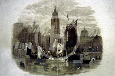 Small boats unloading produce at Seacombe Slip, 1830s