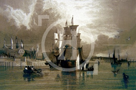 A view of the waterfront in the 1830s