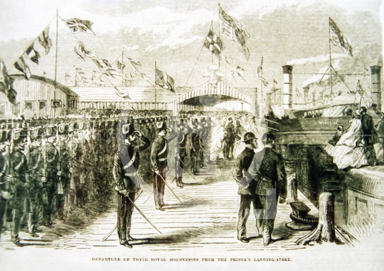 Royal party at Princes Landing stage, 1865
